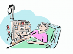 Cartoon-of-a-woman-lying-on-hospital-bed
